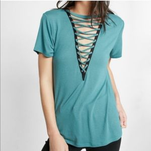 Express lace up girlfriend tee medium